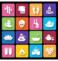 Spa icons in flat style vector