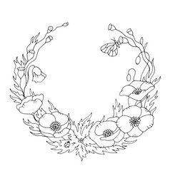 Spring poppy floral wreath contour coloring page vector