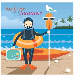 Summer sea diver with swim objects vector