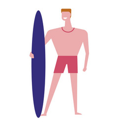 surfer male standing with surfing board and vector image