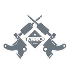 Tattoo machine logo simple gray style vector