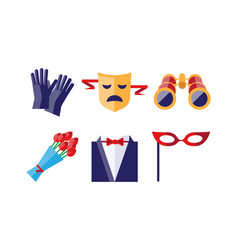 theatre icons set gloves tragedy mask bouquet vector image