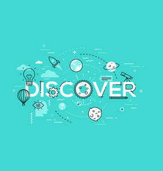 Thin line flat design banner for discover web page vector