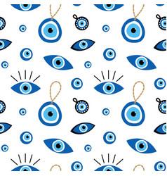 Turkish blue eye shaped amulets talismans pattern vector