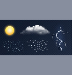 weather elements realistic sun cloud vector image
