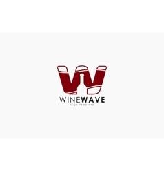 wine logo design bottle design w letter vector image