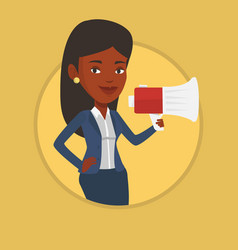 young woman speaking into megaphone vector image
