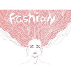 Beautiful lady with hairstyle and word fashion in vector image vector image