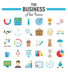 business flat icon set finance symbols collection vector image vector image
