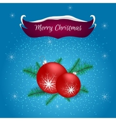 Christmas card with a red banner and ball vector image
