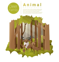 Forest landscape background with deers vector image