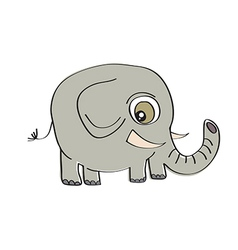 little cute elephant isolated on white background vector image vector image