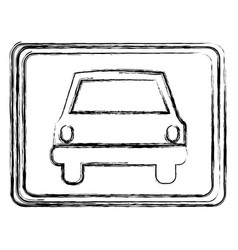monochrome sketch with automobile front view in vector image vector image