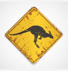 Kangaroo road sign vector