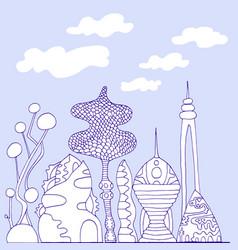 monochrome colorful fantastic city cartoon vector image