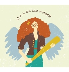Muse motivation art work pretty woman with wings vector image