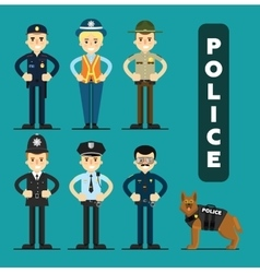 Set of policeman character vector image