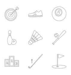 Sports equipment icons set outline style vector image vector image