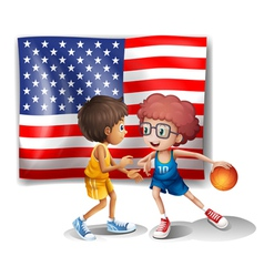 The USA flag and the two basketball players vector image vector image