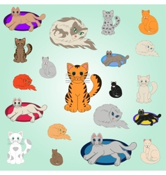 20 Cartoon Cats vector image