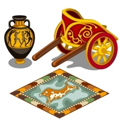 Chariot carpet and pitcher in the Greek style vector image vector image