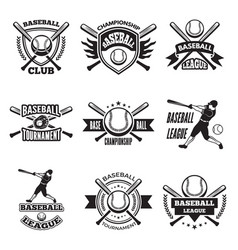 monochrome labels or emblem for baseball club vector image vector image