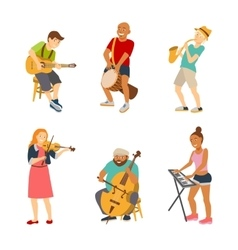 Musician cartoon characters isolated on white vector image