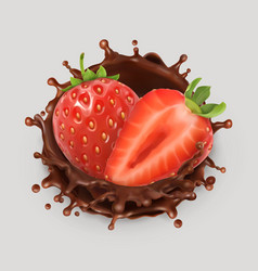 Strawberry and chocolate splash realistic 3d icon vector