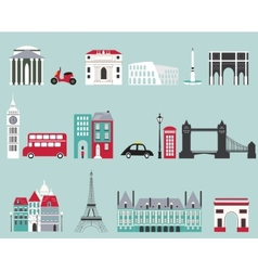Symbols of famous cities vector image vector image