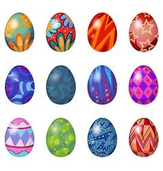 A dozen of easter eggs vector image