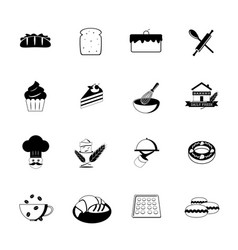 bakery icons black vector image