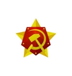 Hammer and Sickle Soviet modern star logo on the vector image