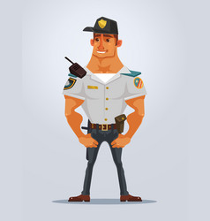 happy smiling strong muscular policeman character vector image vector image