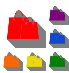 shopping bags sign set of red orange yellow vector image vector image