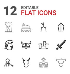 12 knight icons vector