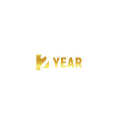2 year happy birthday gold logo on white vector image