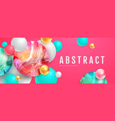 3d abstract colorful spheres with ink art vector