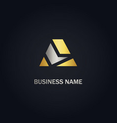 a initial shape gold business logo vector image