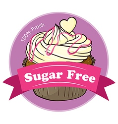 A sugar free label with a delicious cupcake vector