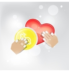 Abstract concept in giving money love vector