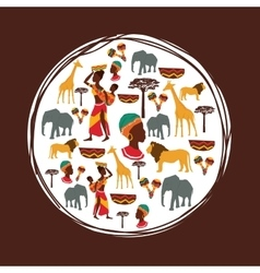 Africa design seal stamp shape culture icon set vector