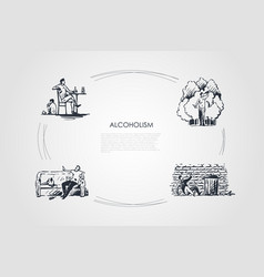 Alcoholism - men drinking alcohol at home and on vector