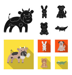 an unrealistic black flat animal icons in set vector image