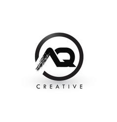 Aq brush letter logo design creative brushed vector