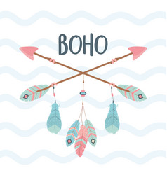 Arrows with feathers decoration boho style vector