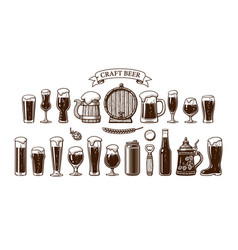big vintage set beer objects various types of vector image