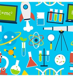 Blue Seamless Pattern Science Education vector
