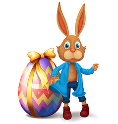 Brown bunny and easter egg vector