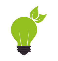 Bulb with leafs plant ecology symbol vector
