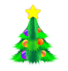 bushy christmas tree decorated with balls and a vector image